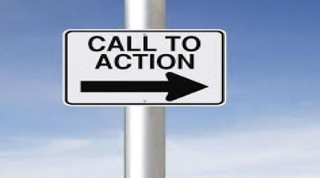 call to action road sign