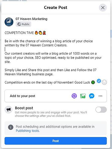 Competiton to get more likes on your facebook business page