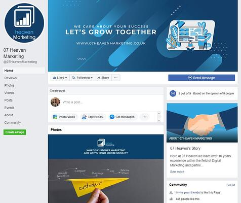 Optimised Facebook Business Page