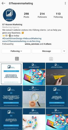 Optimised Instagram Business Page
